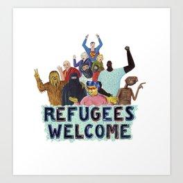 refugees welcome Art Print