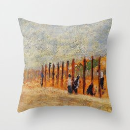Peasants Driving Stakes by Georges Seurat Throw Pillow