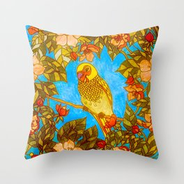 Colourful Yellow Parakeet In Flowery Wreath Throw Pillow