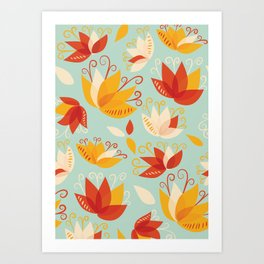 Whimsical Abstract Colorful Lily Flower Pattern Art Print