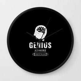 Genius, admire, 100 % brain Wall Clock
