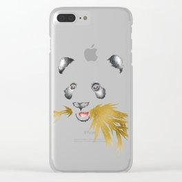 Panda Bear & Bamboo - Gold Bamboo Clear iPhone Case