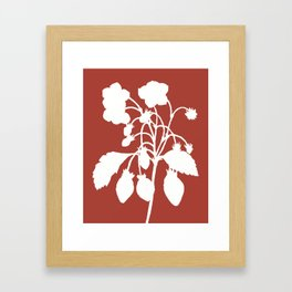 Wild Strawberry in Ruby Red - Original Floral Botanical Papercut Design Framed Art Print