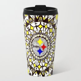 Football Gold and Black Mandala Travel Mug