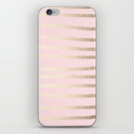 Drawn Stripes White Gold Sands on Flamingo Pink iPhone Skin