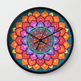 Lotus Rainbow Mandala Wall Clock