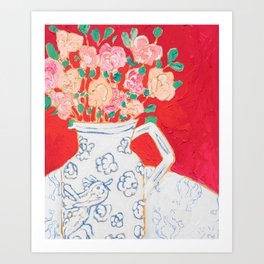 Delft Bird Pitcher on Red Background Art Print