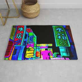 JAPANESE POP-ART DESIGN INSPIRED BY THE NEON LIGHTS OF JAPAN AND GANGSTERS Rug