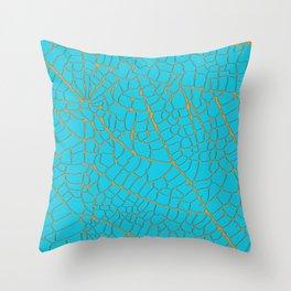 turquoise leaf skeleton Throw Pillow
