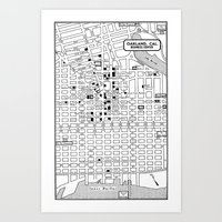 oakland Art Prints featuring Oakland  by Hollyce Jeffriess Designs