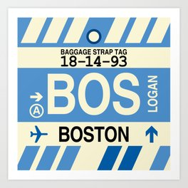 BOS Boston • Airport Code and Vintage Baggage Tag Design Art Print