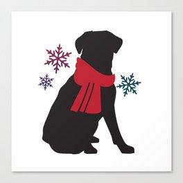 Black Dog Winter Canvas Print