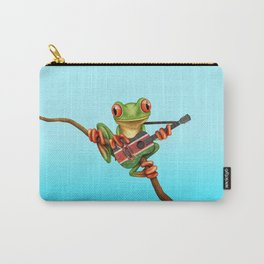 Tree Frog Playing Acoustic Guitar with Flag of Kenya Carry-All Pouch