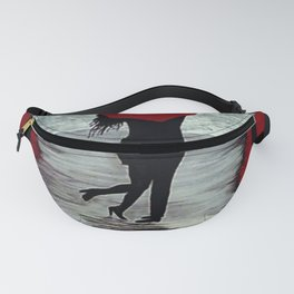 Red Autumn Rain Romance Fanny Pack