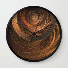 Earthen Brown Circular Fractal on a Woven Wicker Samurai Wall Clock
