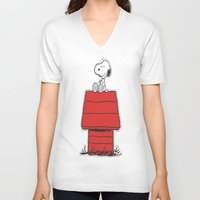snoopy V-neck T-shirts featuring Snoopy by Simple Touch Apparel