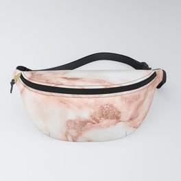 Living Coral Rose Gold  Glitter Veins on Marble Fanny Pack