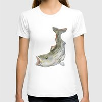 striped T-shirts featuring Striped Bass by Sam Bock
