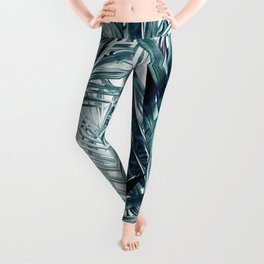 Tropical vector pattern background with green palm leaves in watercolor style, vacation  Leggings