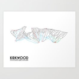 Kirkwood Mountain Resort, CA - Minimalist Trail Art Art Print