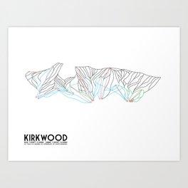 Kirkwood Mountain Resort, CA - Minimalist Trail Art Art Print