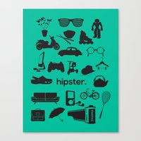 hipster Canvas Prints featuring hipster by tycejones
