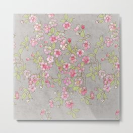 Cherry Blossoms:  Delicate Watercolor Branches, pink on grey Metal Print