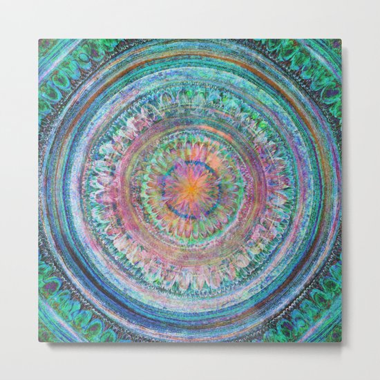 Pink and Turquoise Mandala Metal Print