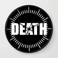 death star Wall Clocks featuring Death by Sinister Star
