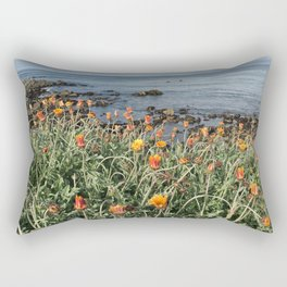 Orange blooms along the Pacific Rectangular Pillow