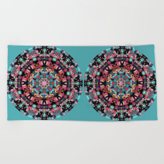 Spheres and Bubbles Mandala Beach Towel