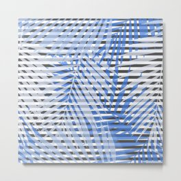 Blue striped palm leaves seamless pattern. Metal Print