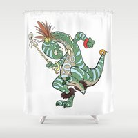 medicine Shower Curtains featuring Dino Medicine Man Dancing by Richtoon
