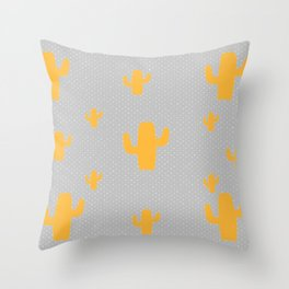 Mustard Cactus White Poka Dots in Gray Background Pattern Throw Pillow
