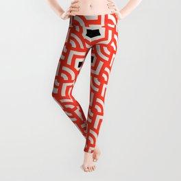 Round Pegs Square Pegs Red-Orange Leggings