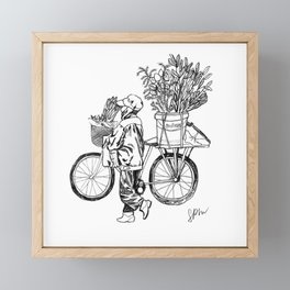 Bicycle Flower Seller in Hanoi in Pencil Framed Mini Art Print