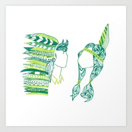 Peter Pan and Tiger Lilly Art Print