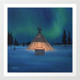 Teepee-winter Art Print
