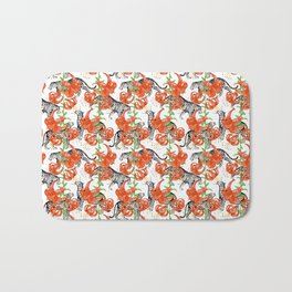 Tigers and Tiger Lilies (White Background) Bath Mat