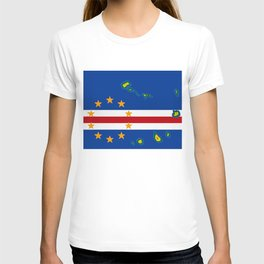 Cape Verde Flag with Map of the Cape Verde Islands T-shirt