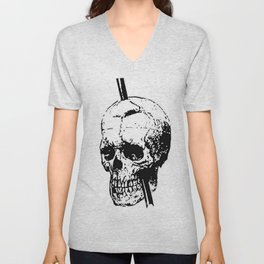 Skull of Phineas Gage With Tamping Iron Unisex V-Neck