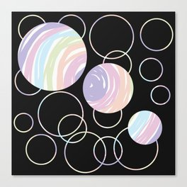 Abstract Artwork Pattern of Color Circles on a Black Background Style #02 Canvas Print