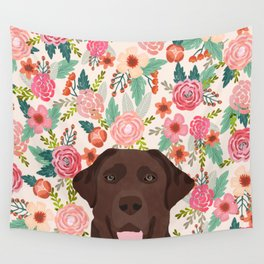 Chocolate Lab floral dog head cute labrador retriever must have pure breed dog gifts Wall Tapestry