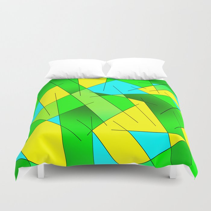 ABSTRACT LINES #1 (Greens, Yellow, Light Blue-Aquamarine) Duvet Cover