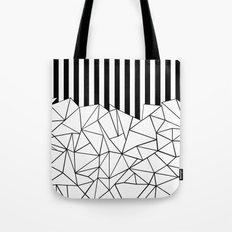 Abstract Outline Stripes Black and White Tote Bag