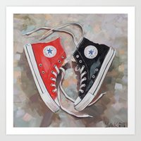 converse Art Prints featuring Converse  by Yulia Katkova