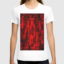 Bright red highlights on triangles and stripes of metal. T-shirt