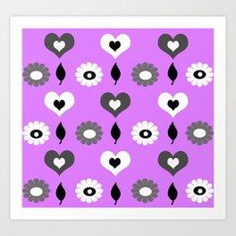 Daisy heart print violet Art Print