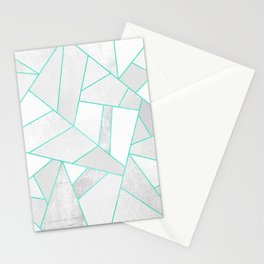 White Stone with Turquoise Lines Stationery Cards
