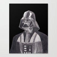 Darth Vader [Grayscale on Black] Pencil Canvas Print